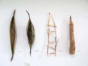 Grouping of Four Fiber Sculptures fiber rush, acrylic, red osier branches, pattern paper, prickly pear cactus skeleton paddles, wax linen various sizes