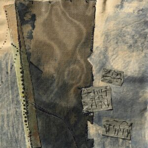 "Exploring & Composing no. 12 acrylic, screening, fiber rush paper, wax linen, thread 9"" x 9"" SOLD"