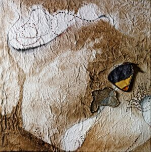 """Backcountry Topography acrylic, screening, fiber rush, leather on canvas 20"""" x 20"""""""