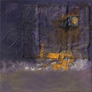 """Night Moon acrylic, burlap, thread on stretched canvas 20"""" x 20"""" SOLD"""