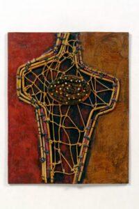 """What Do I Call Myself? acrylic, reed, wax linen, illustration board, painted nails 10""""h x 8""""w (13""""h x 11""""w framed)"""