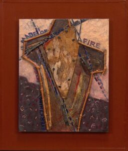 """What Do I Call Myself? acrylic, wisteria vine, oil pastel, found paper, wood, nails, bugle beads 13""""h x 11""""w"""