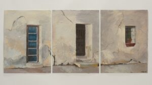 "Historic Doors (Trifecta) acrylic on paper 48"" x 24"" SOLD"