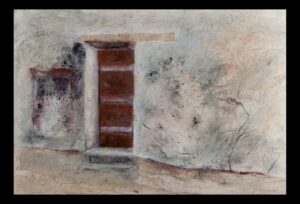 "Historic Doors no. 3 acrylic, collage, charcoal on paper 23""x30.5"" (framed) SOLD"