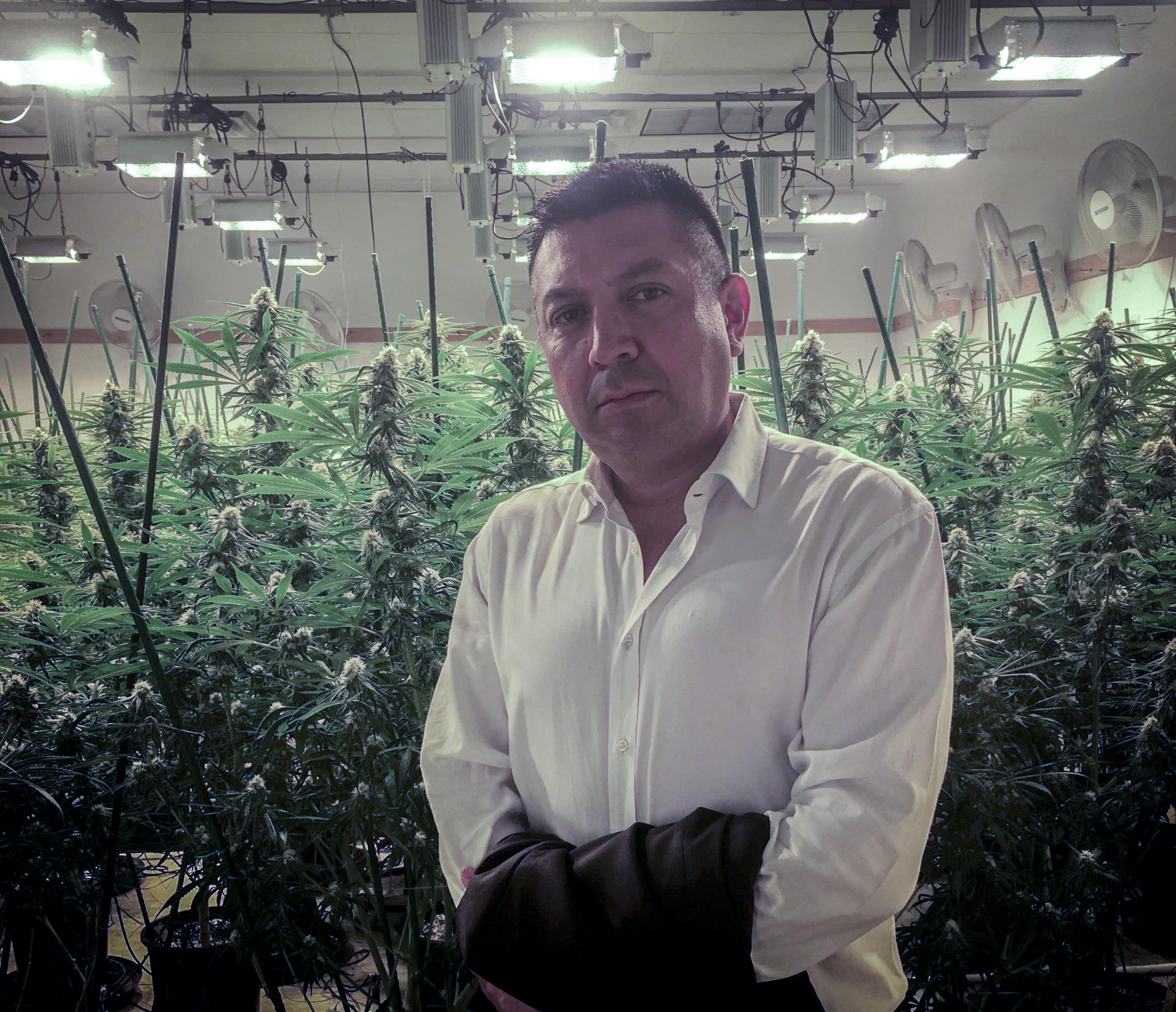 Demitri Downing at an indoor grow in Arizona.