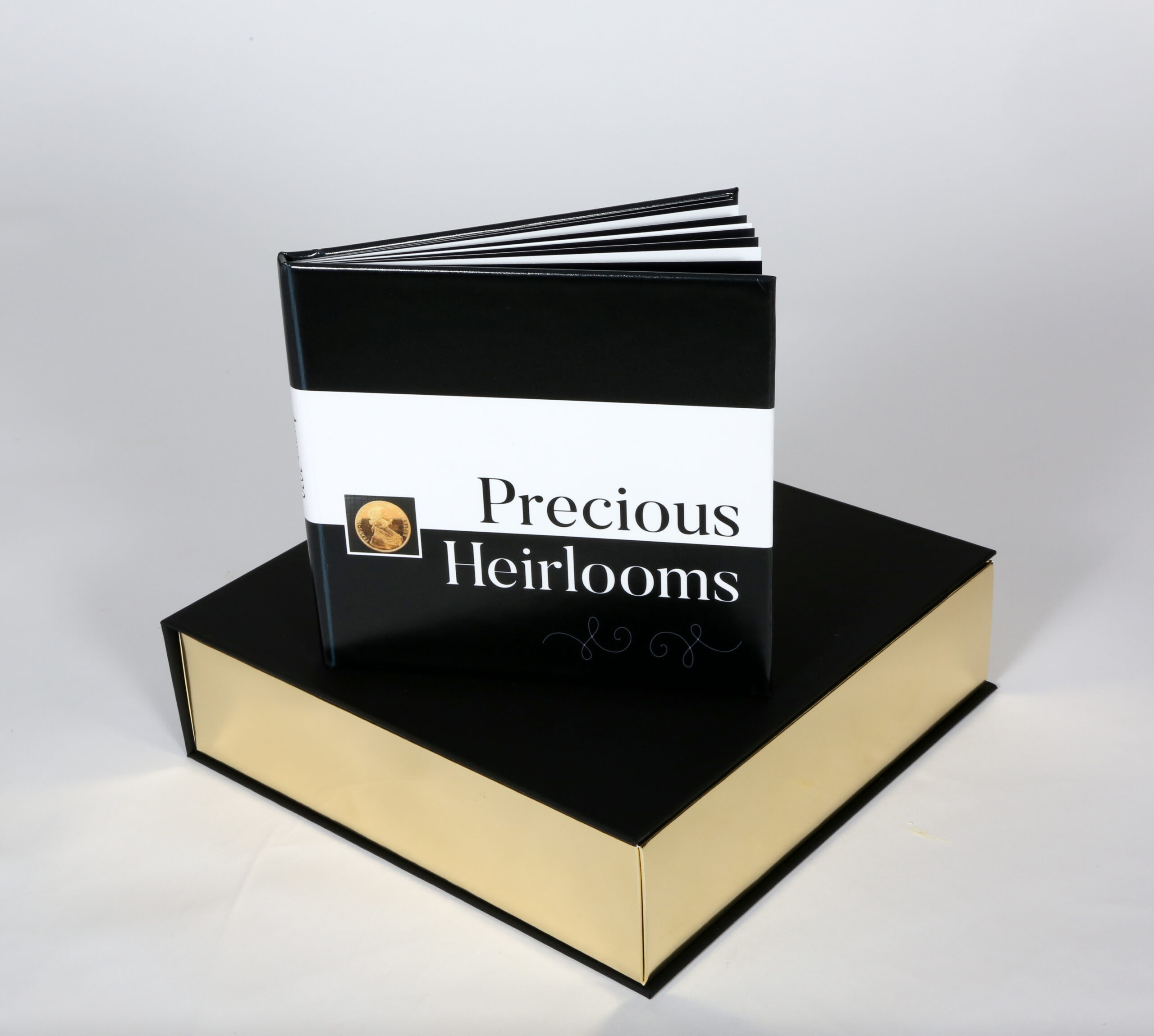 Small coffee table book on decorative box.