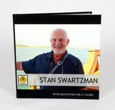 Picture of man on book cover.