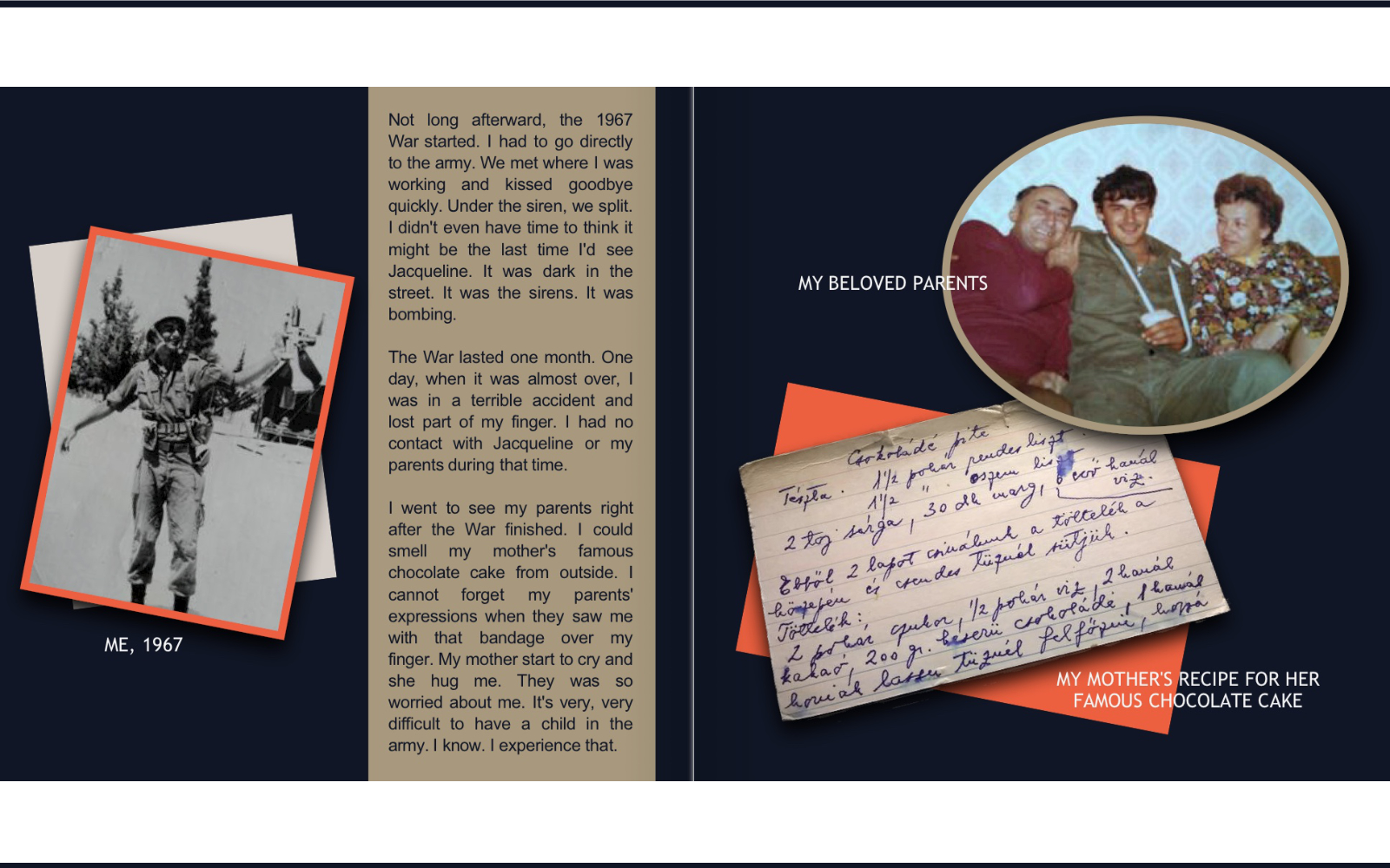 Book layout showing picture of soldier, family and recipe card.