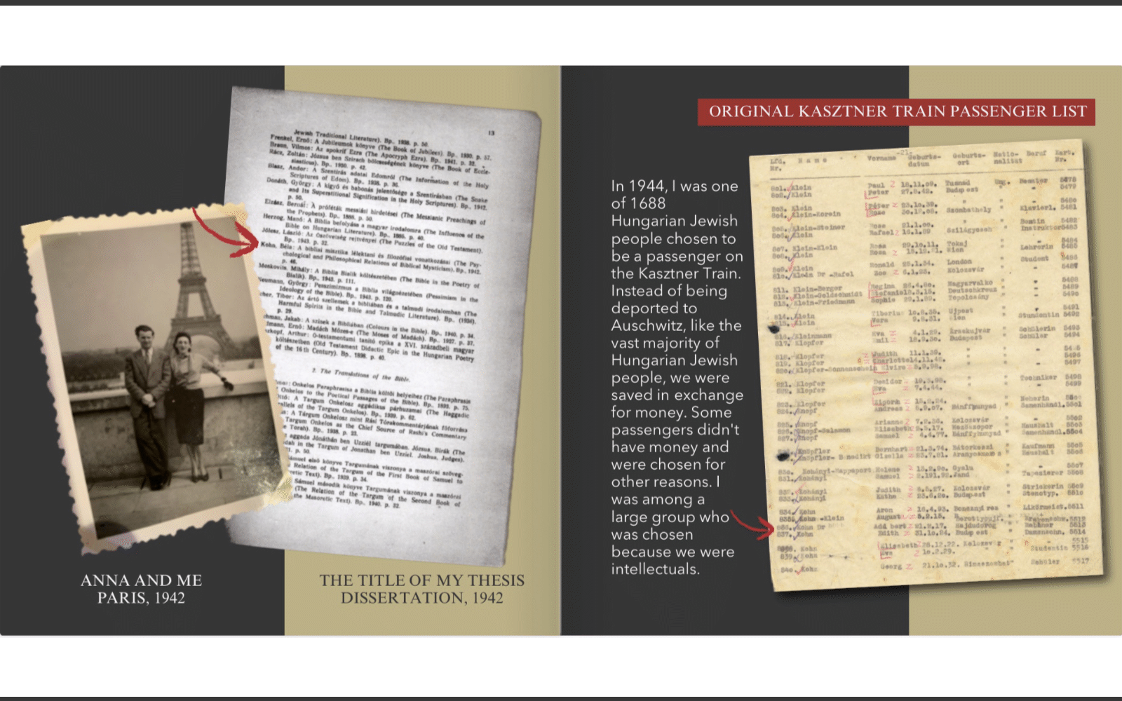 Page layout showing two documents with explanatory text.