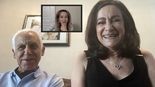 Zoom video conference with Romy and older couple