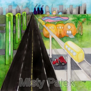 Misty Palek - City Scape - 22 x 22in
