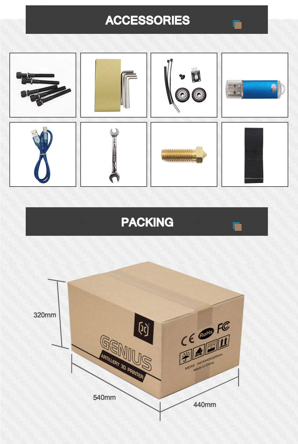 Artillery Genius Accessories and Packing