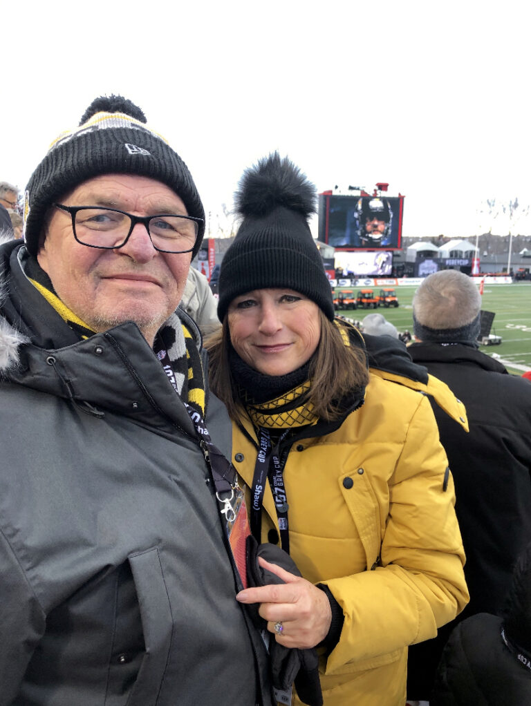 Rebecca Wissenz with husband Bill Kelly at the 2019 Grey Cup game
