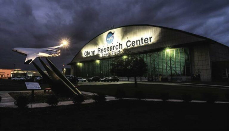 GRC Hangar at night