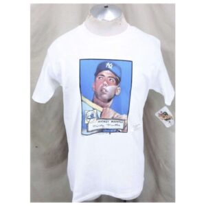New! 1989 New York Yankees Mickey Mantle #7 (Large) Topps Autograph MLB Graphic T-Shirt (Cover)