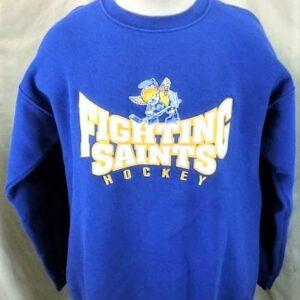 Minnesota Fighting Saints Hockey (Large) Retro Crew Neck Knit Sweatshirt (Front)