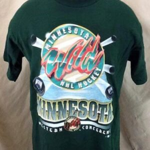 Vintage 2000's Minnesota Wild (Large) Retro Graphic NHL Hockey T-Shirt (Front)