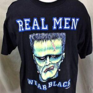 Vintage 1992 Frankenstein Real Men Wear Black (Large) Graphic Halloween T-Shirt (Front)