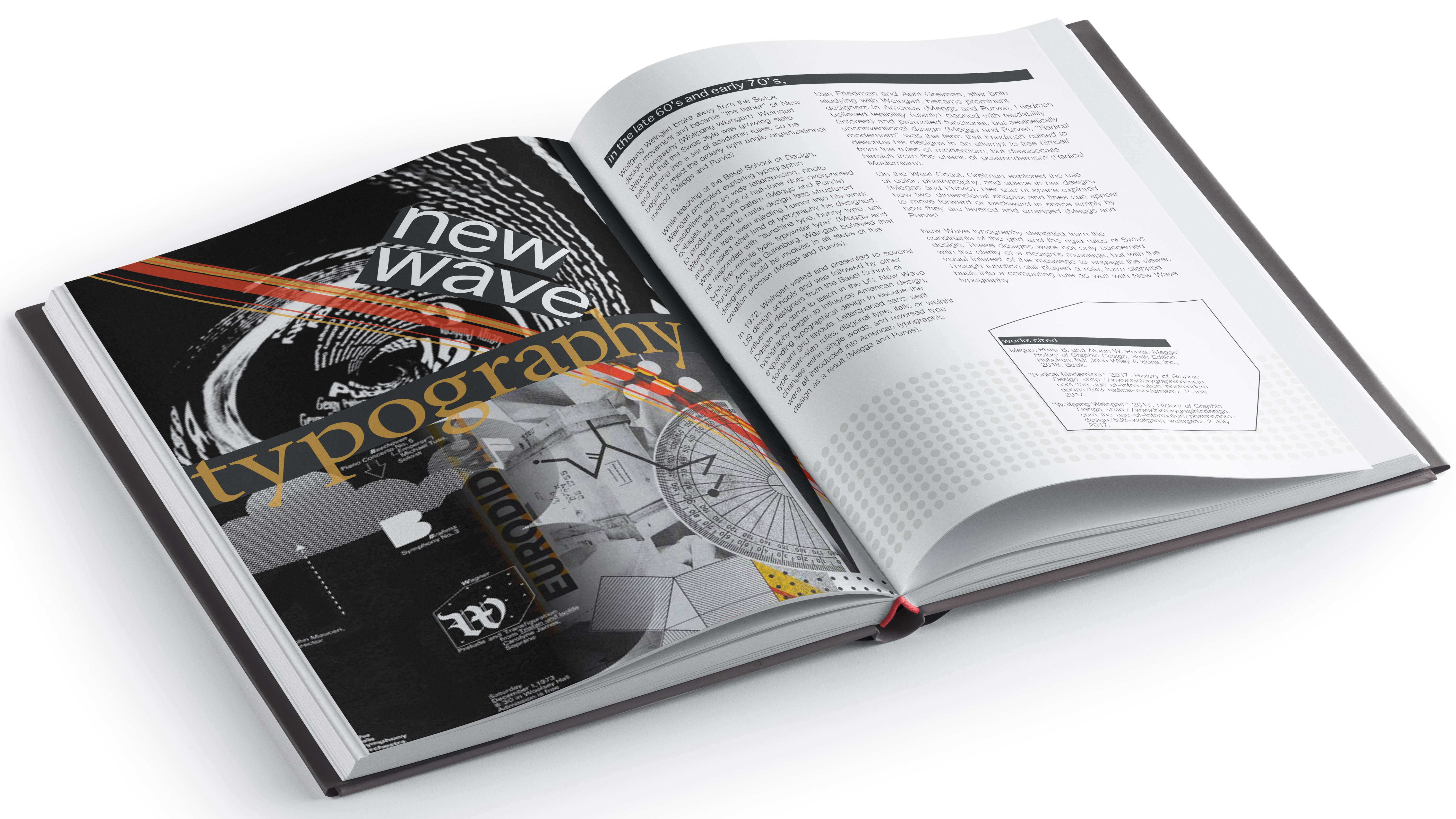New Wave typography book spread