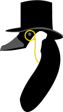illustration of a goose wearing a top hat and monocle