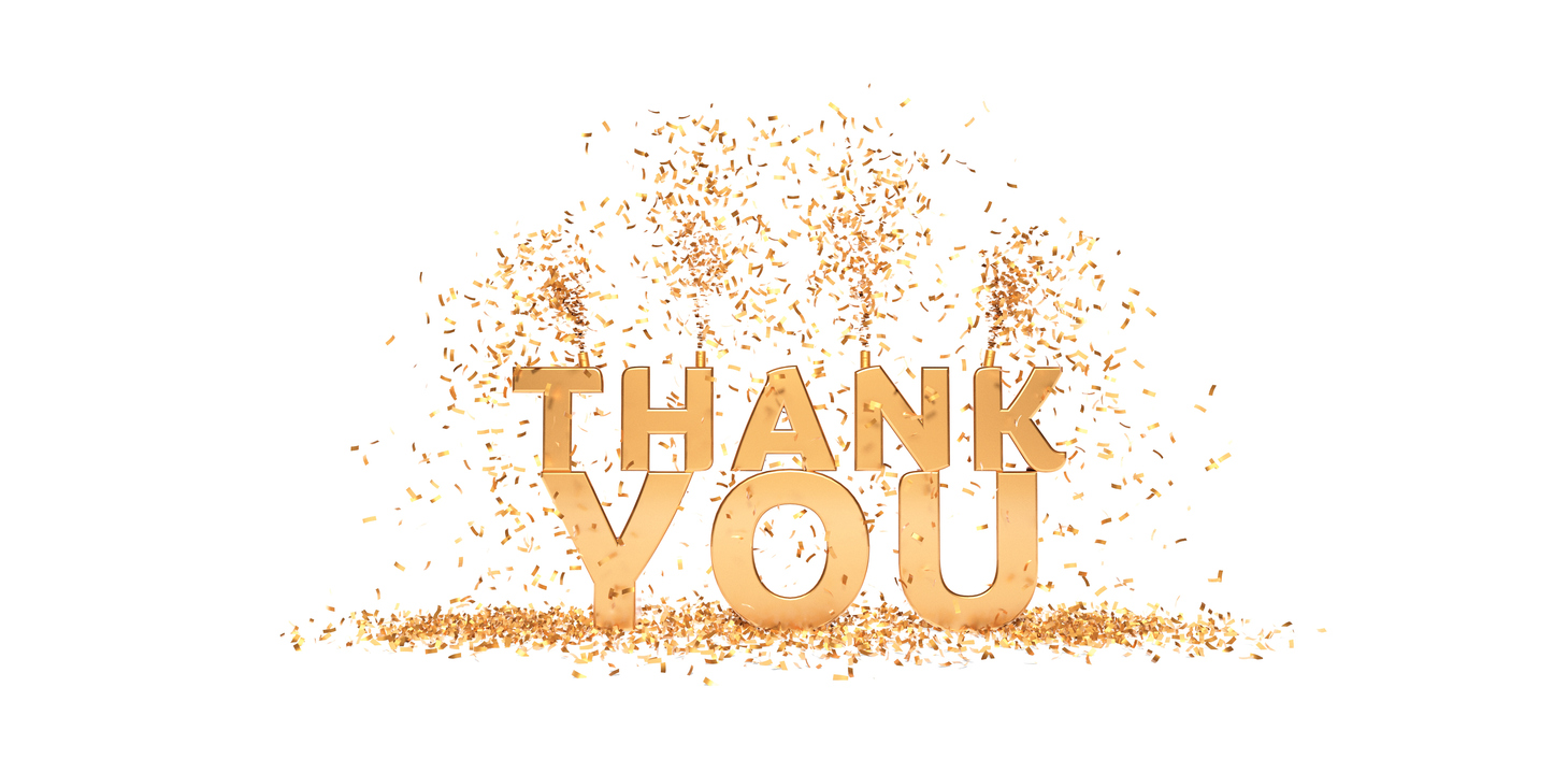 thank you phrase with confetti white and gold 3D rendering