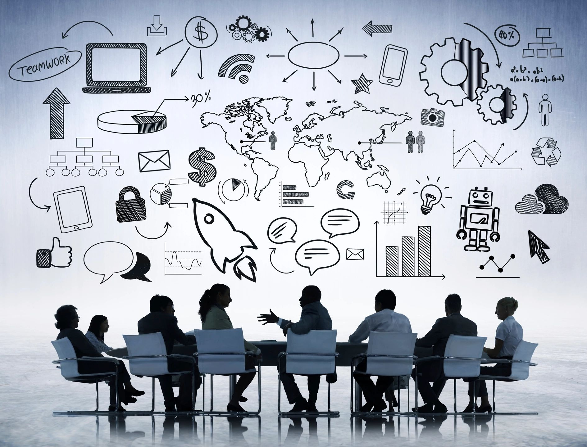 Group of professionals brainstorming SEO strategies