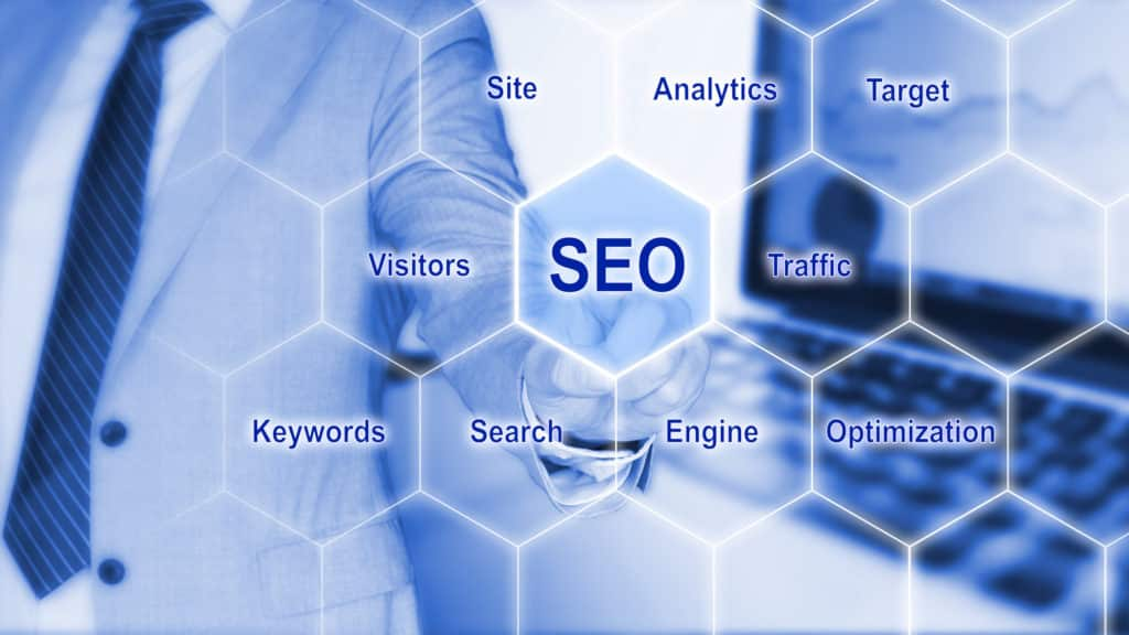 IT expert touching the word SEO on a hexagon grid with a business background and search engine optimization keywords 3D illustration