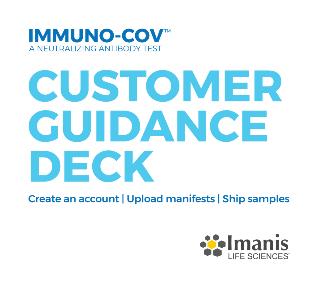 IMMUNO-COV Customer Guidance Deck: Create and account, upload manifests, ship samples