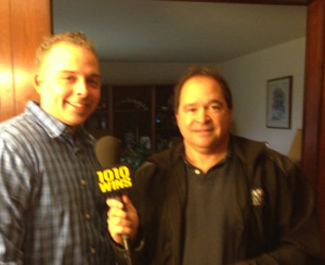 Andrew Lilley being interviewed by 1010 WINS reporter John Montone