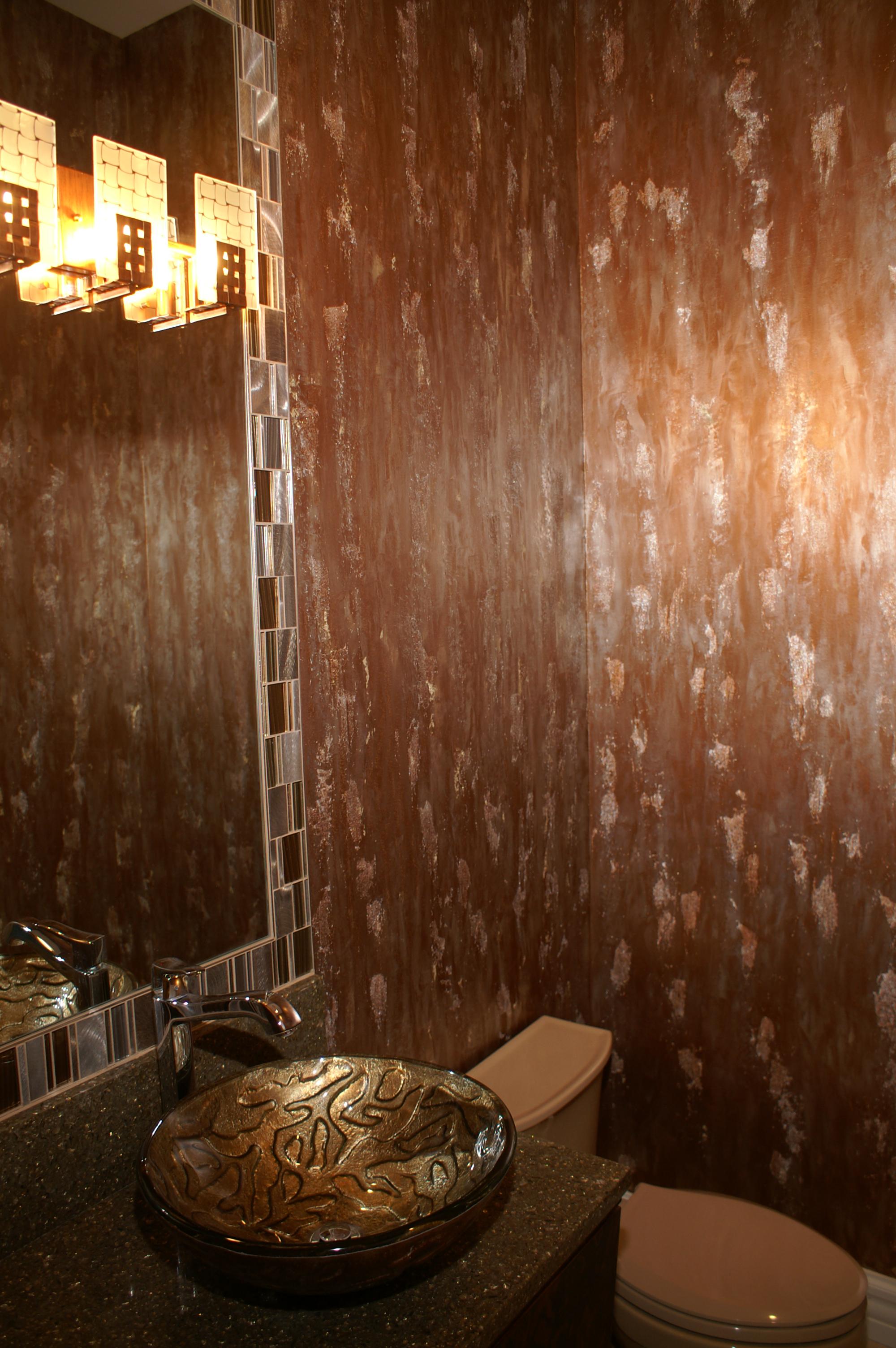 Contemporary Bathroom Design, Contemporary Artistic Wall Finish