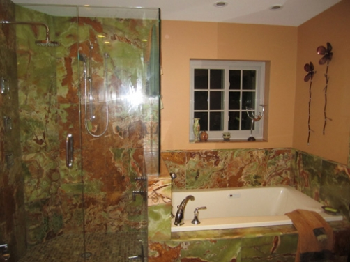 Traditional Dramatic Bathroom Design, Green Onyx