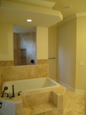 Traditional Bathroom Design, Travertine Tiles