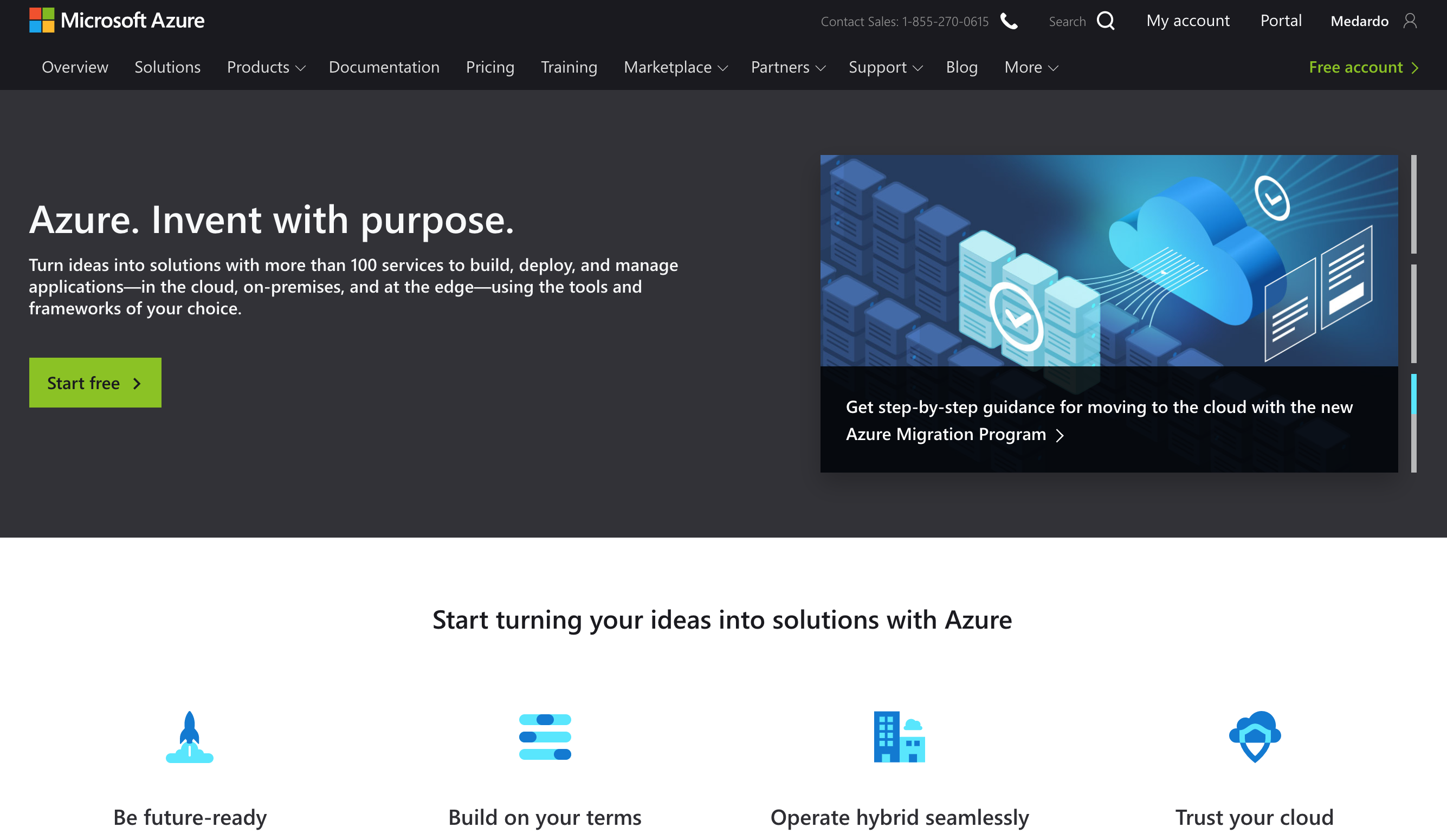 A redirect for Microsoft's cloud services offering