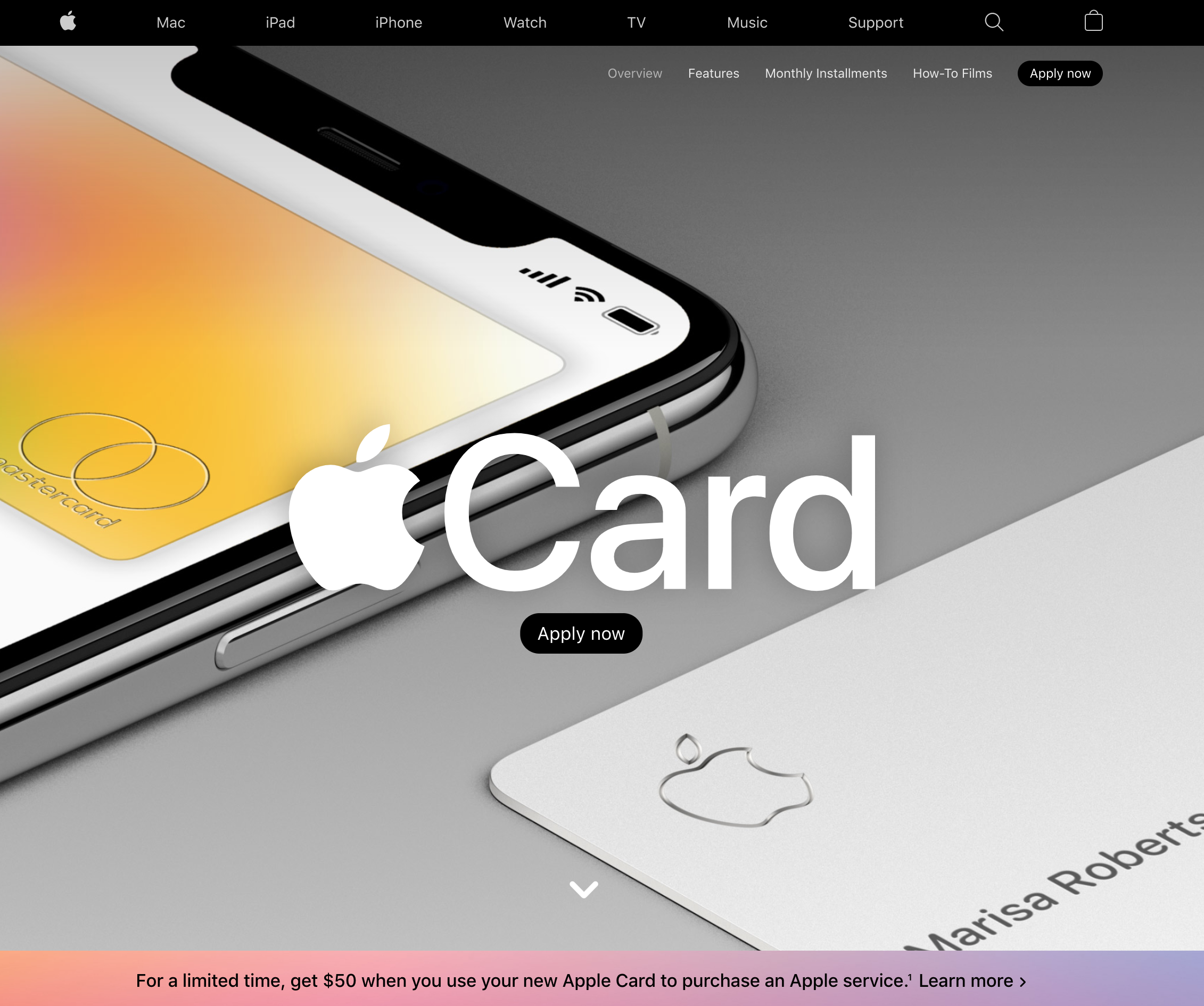 Apple launches it's credit card with a cool .apple redirect