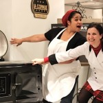 Me and Debbie coveting the AGA (photo Readers' Digest)