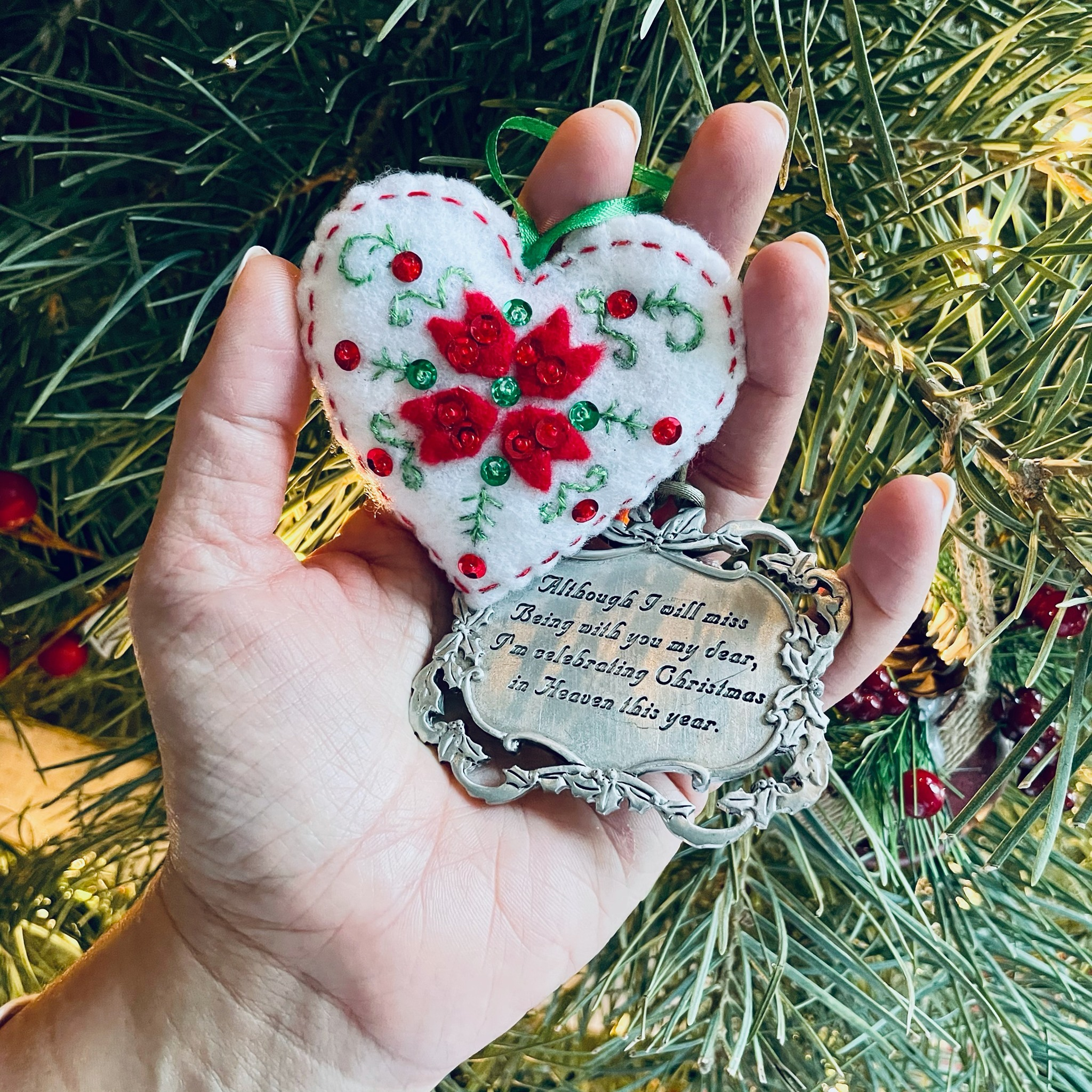 Handmade christmas ornament and infant loss remembrance ornament