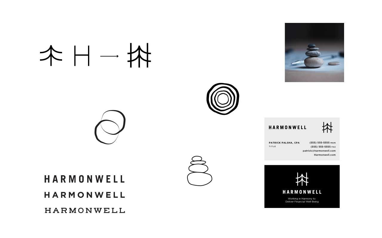Sketches of Tuten Creative's Harmonwell Logo