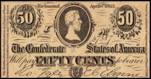 Fifty cents paper money The Confederate States of America Richmond April 6 1863