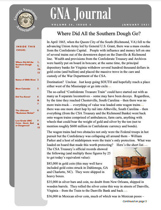 Georgia Numismatic Association Journal article by Rick Lock--Where Did All The Southern Dough Go?
