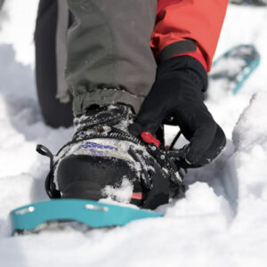Checking bindings on snowshoes