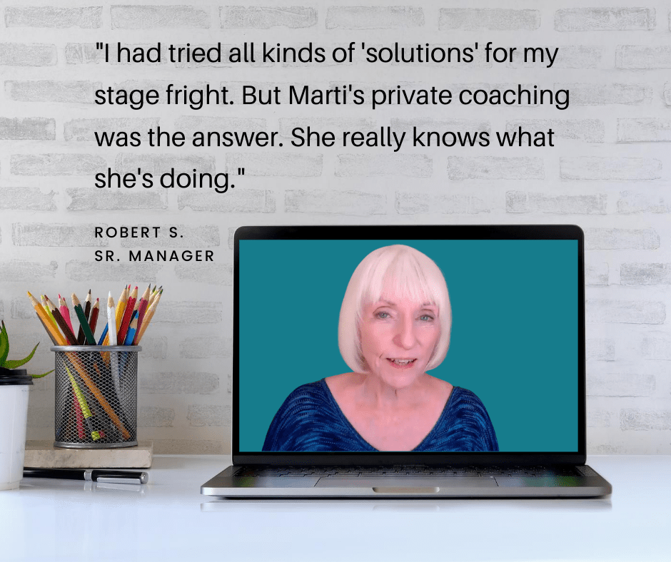 Become a strong, comfortable performer or speaker with Marti MacEwan