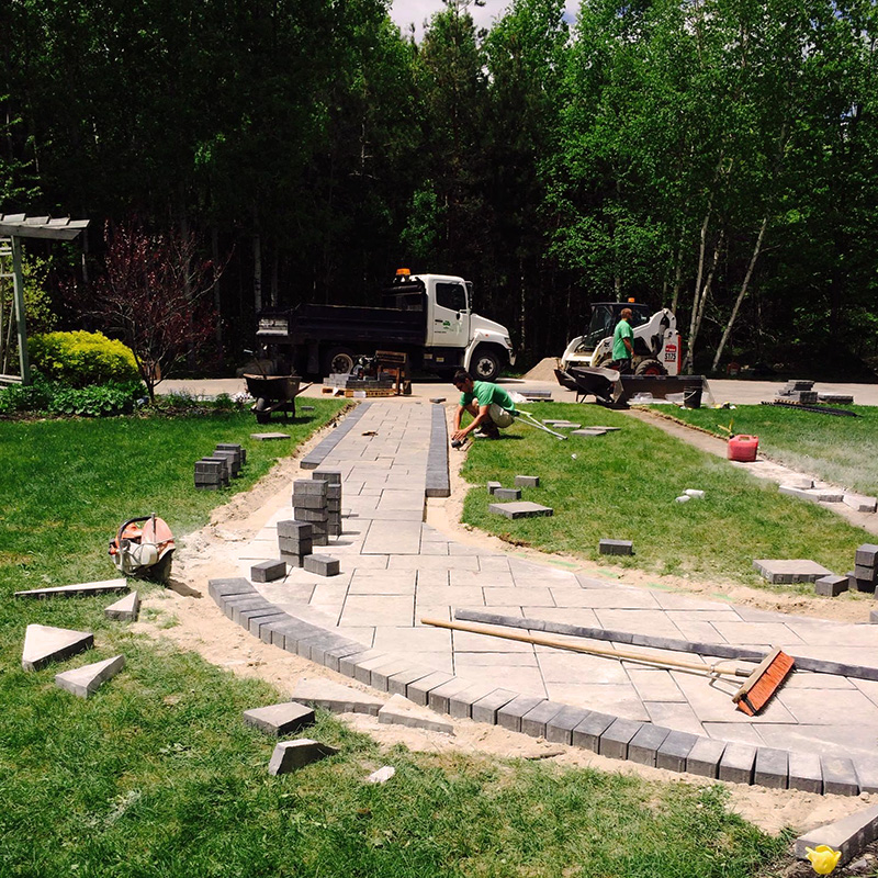 Jeff White Group laying stonework walkway