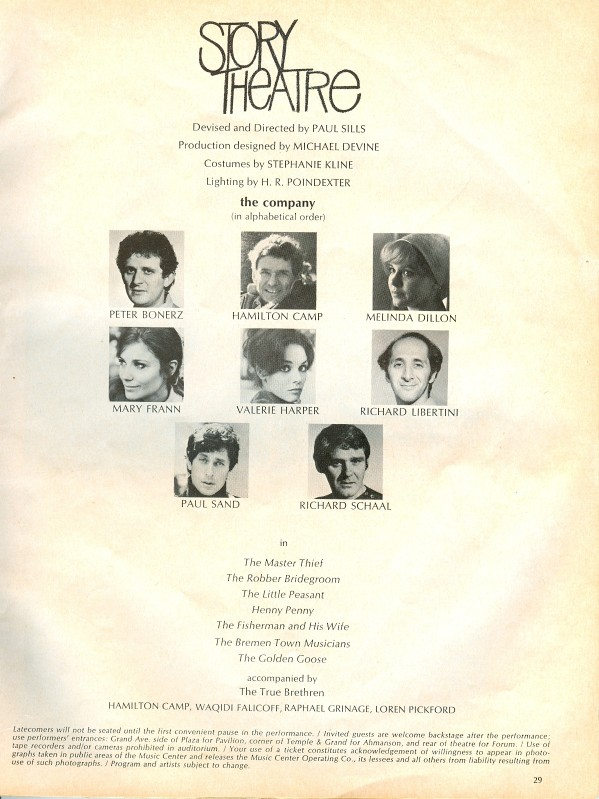 Story Theatre Mark Taper June 1970 Credits with WF