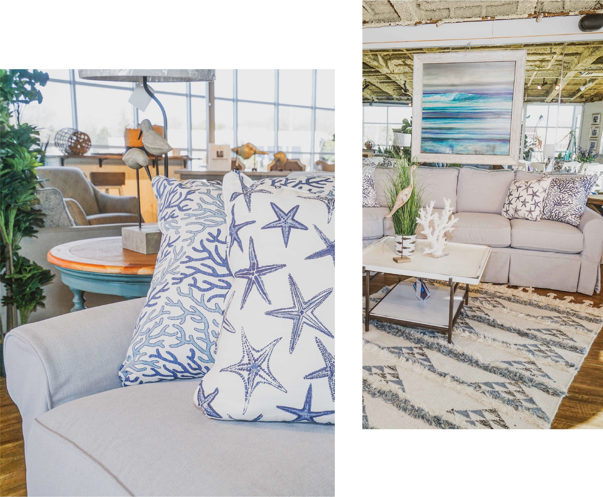 Surfside Casual Blue Sectional Starfish Pillows