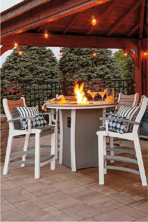 Casual Comfort Bar height table with fire pit