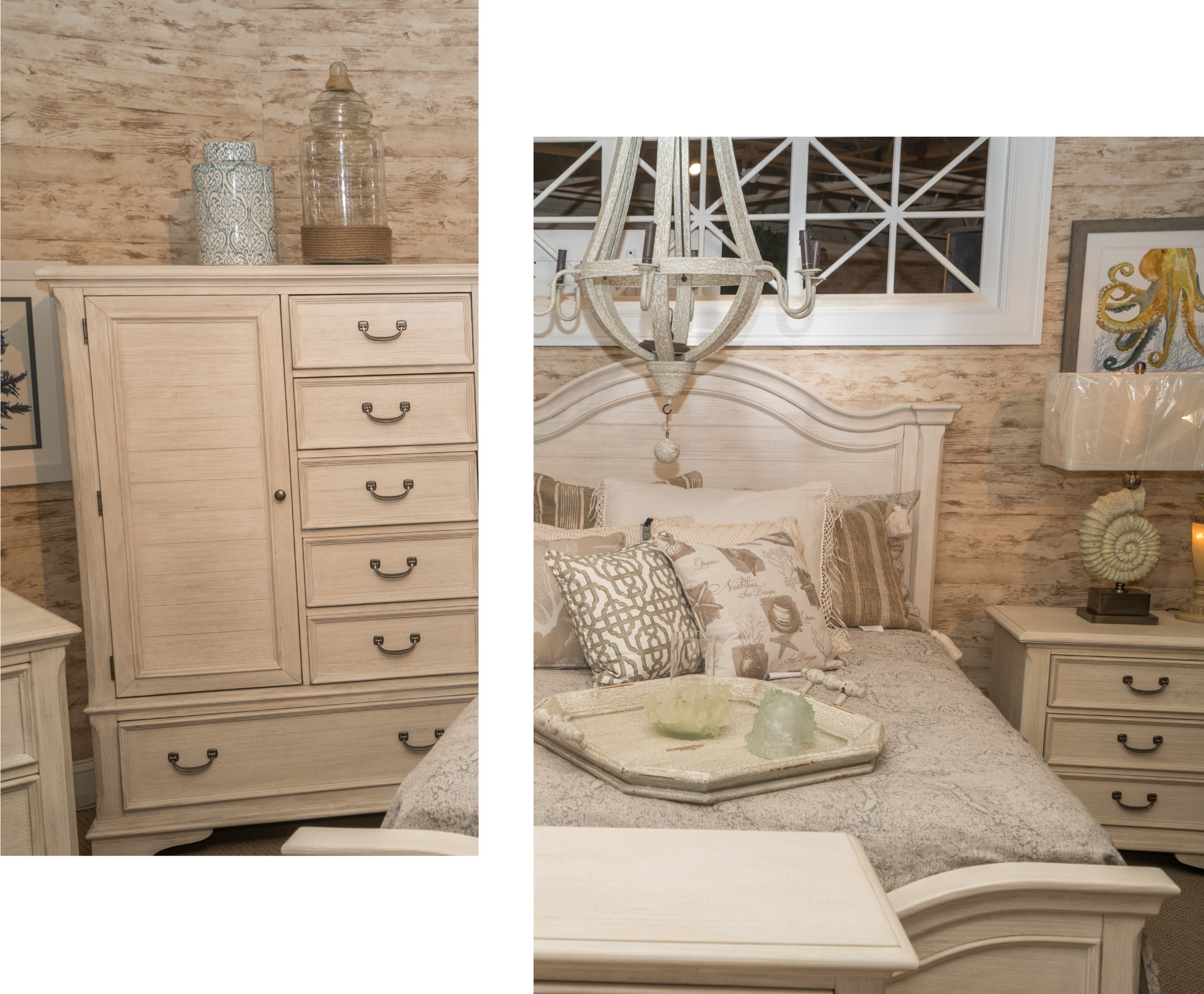 Surfside Casual Ivory Bedroom with Chandelier