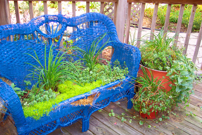 Wicker Loveseat Chair Garden Container Moss and Green