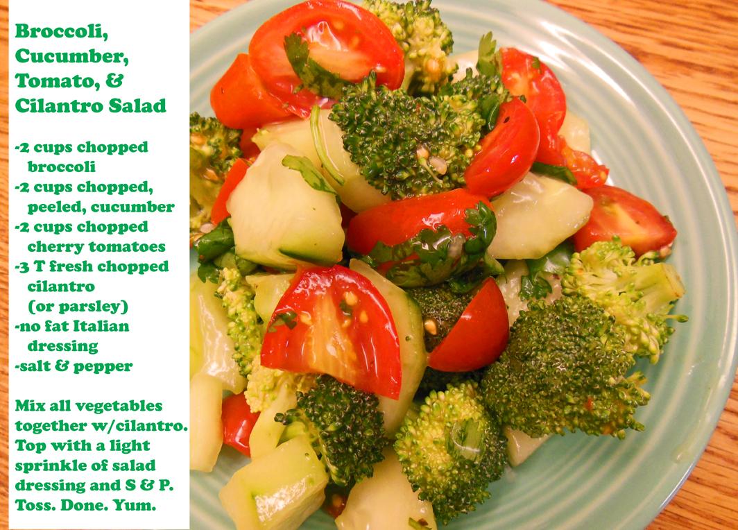 Broccoli tomato cucumber cilantro salad recipe