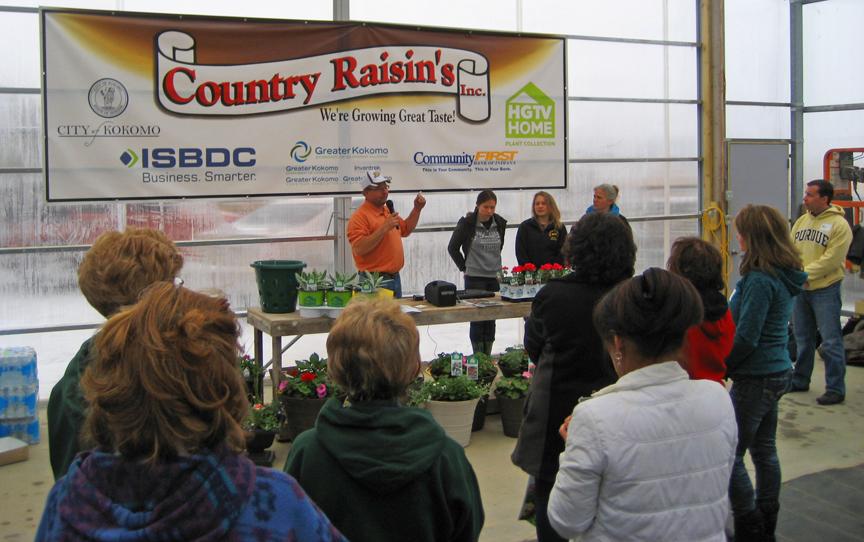 Kokomo Indiana HGTV Flower Display Volunteers at Country Raisins