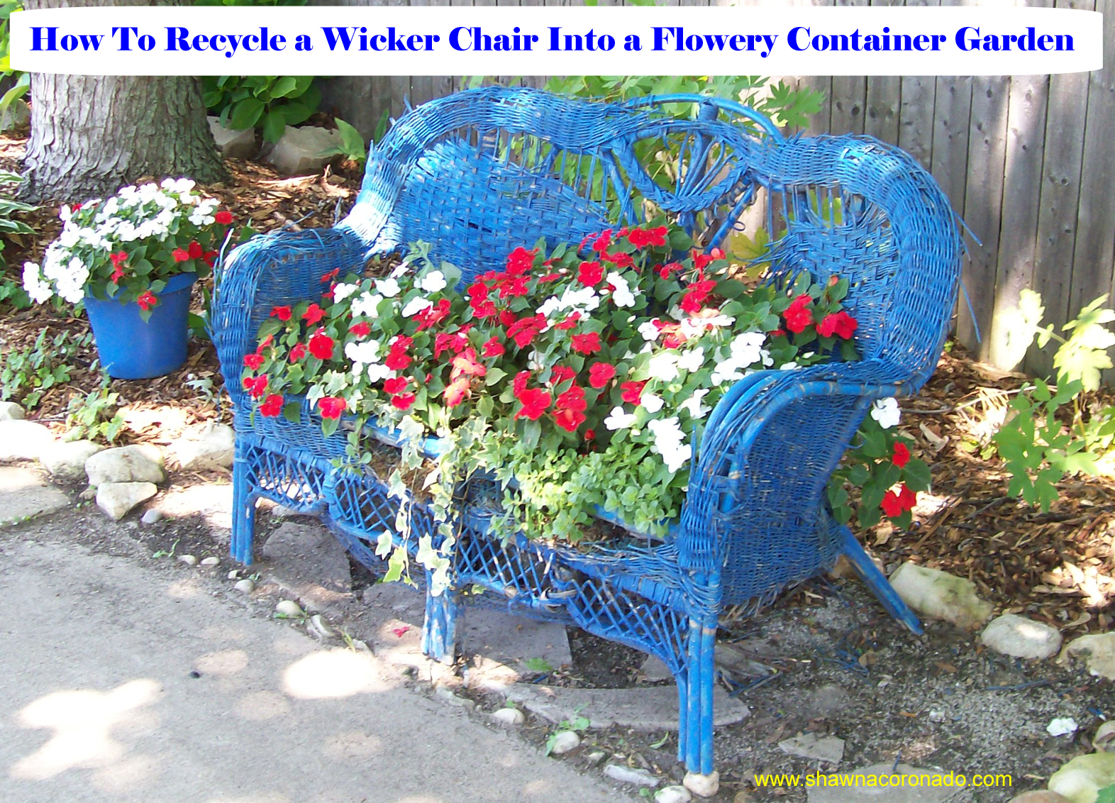 Loveseat Flower Container Recycled Wicker
